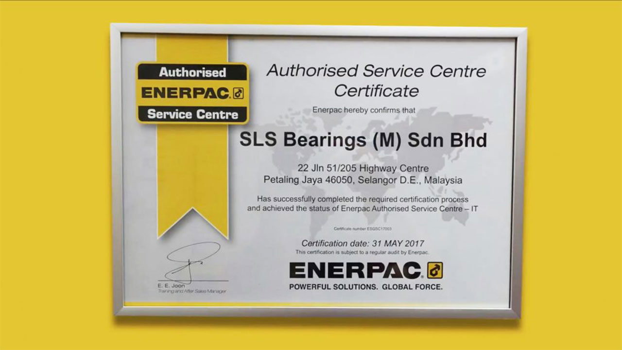 SLS Authorized Service Center Certification by Enerpac
